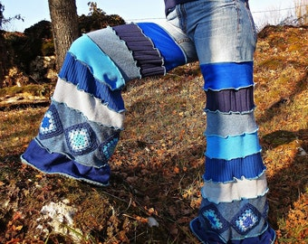 Winter pants to denim and blue recycled wool patchwork elephant leg!