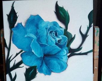 40 x 40 cm pink blue acrylic painting