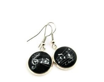 Dangle Earrings - Hand drawn - Black Earrings - Drop Earrings - Simple Earrings - Black Jewelry - Woman Earrings - Music earrings