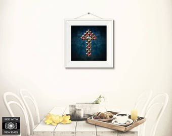 Ascension Print, Wall Art, Printable, Home Decor, Square, Symbol, Download, Blue, Copper, Purple, Gemstones, Jewels, Abstract, Arrow, Ascend