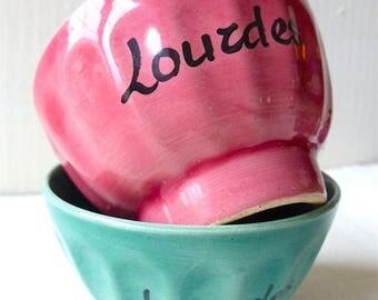 2 bowls vintage LOURDES French former pink and green antique bowls Sainte Bernadette Soubirous remember our Lady of Lourdes religious