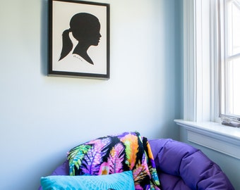 Wall Sized Canvas Silhouette Portrait • Custom Made and Ready to Hang