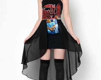 CUSTOM Death Altered Tee Fishtail Sheer Dress with short sleeves