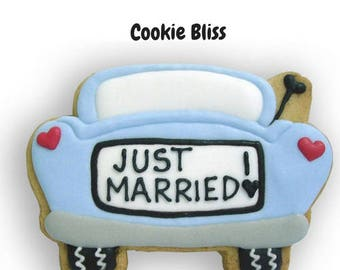 12 Just Married Car Decorated Sugar Cookie Baked Goods Sugar Cookie Handmade Cookie Decorated Wedding Cookies Wedding Favors Newlywed Cookie