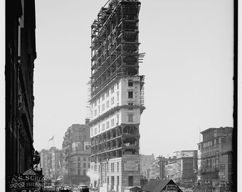 Times Building under construction-1902 New York city black and white fine art Photography-architecture-street-design - art print