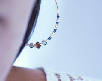Hoop earrings, gold plated earring wife, 45mm, swarovski and miyuki, handmade by PELVA