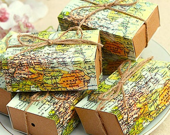 100 World Map Gift Boxes/DIY Wedding Favor Gift Box/DIY Safe Travels Favor/Around the World Gift Boxes/DIY Map of the World Party Favor Box