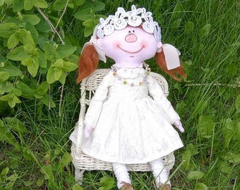Funny PRINCESS Doll - Handmade Textile Doll - Girl Gift - Fabric Doll - Gift Ideas - Cloth Doll Rag Doll - Interior Doll - Made in Canada