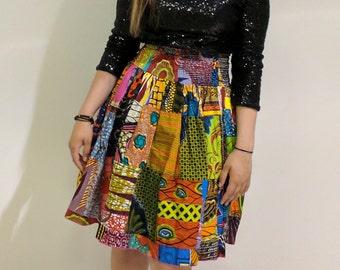 Handmade African Wax Print Patchwork Skirt
