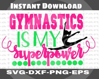 Girls Gymnastics Instant Download for Cutting Machines | Gymnast Fun Saying SVG EPS DXF Png cutting files