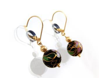 Cloisonné Ball Earrings 14K - X3226
