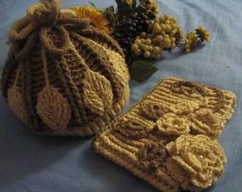 baby bonnet and scarf crochet 3d. Headphone and crochet neckwarmer in 3d