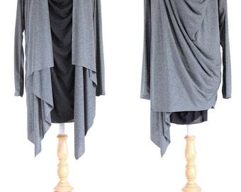 Wrap Charcoal Gray Tunic / Long Sleeve Tunic / Women Gray Tunic / Asymmetrical Layered Top / Light Jacket / Black and Gray Top - 11196