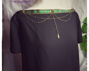 Black Chain Blouse, Filligree Cabochon, Bronze Chain, Green, Gold, Women's Cothing, Summer Top, Night Top, Elegant Top, Stylish Top,