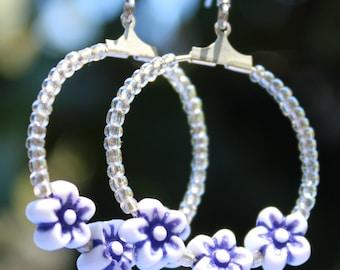 Blue and white flower hoop earrings