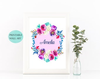 Personalized Nursery Wall Art, Custom Baby Name Wall Art, Floral Name Print, Initial Nursery Wall Art, Custom Baby Name Print, Girl Nursery