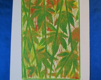 Bamboo Weed, green yellow red, Artist Proof, Original Hand Printed Collagraph, Signed