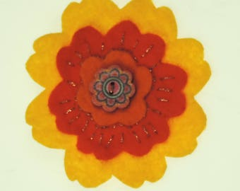 Handmade Sunny Flower Felt Brooch, Button centre