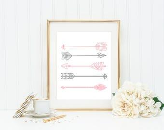 Pink And Gray Arrows Printable, Tribal Arrow Decor, Tribal Nursery Decor, Nursery Arrow Prints, Pink Arrow Art Print, Arrow Printables