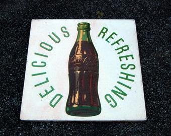 Original Coca Cola Sign Delicious Refreshing 1954 Coke Advertising Vintage Soda