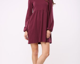 Tricot high neck marsala dress | Tricot turtleneck marsala dress