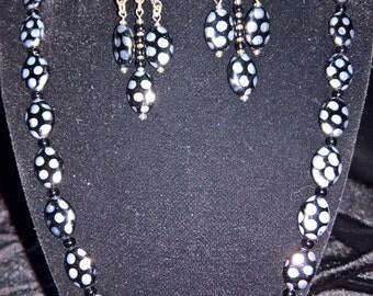 BLACK SILVER necklace w/ chandelier earrings