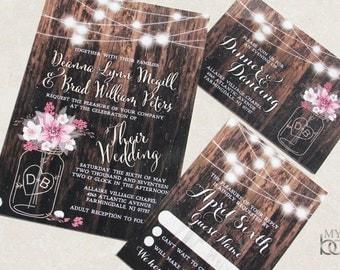 Rustic Mason Jar Wedding Invitation set. Mason Jar and Flowers Wedding Invitation set. Mason Jar, flowersand fairy lights