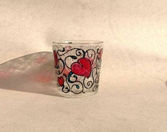 Painted glass candle holder Hearts glass Painted tealighter Romantic Glass Tealight Candle holder Chic tealight candle holder Hearts light