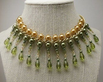 Olive Green Collar Necklace, Olive Green Glass Pearl Necklace, Green and Gold Statement Necklace, Pearl Bib Necklace