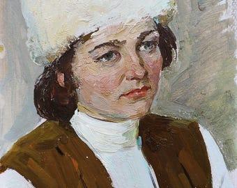 VINTAGE FEMALE PORTRAIT Original Oil Painting by Soviet Ukrainian Russian artist Solodovnikov A. 1970s Woman's portrait, Handmade Unique art