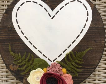 Handcrafted wooden stitched heart sign