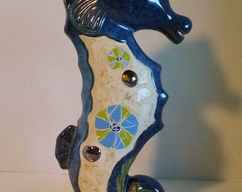 Vintage Seahorse Statue made of Ceramic and Mosaic Tile and Glass Beads