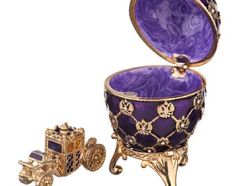 Russian Faberge Style Egg / Trinket Jewel Box with Imperial Eagle & Carriage 6.5cm (2.6'') purple