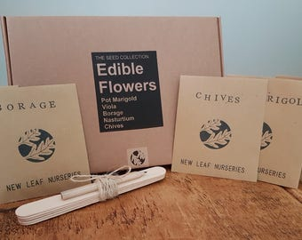 Edible Flowers - Seed Collection. Ideal Gardening Gift with Hand Stamped Seed Envelopes and a Hand finished Box.