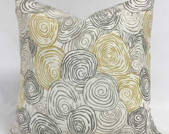 Pillow Cover - Modern Circle Swirl Design - Gray Yellow Pillow- Linen Pillow-Lumbar Available- Fully Lined - Invisible Zipper