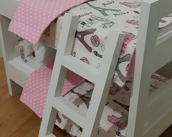 "18"" Doll Bunk Bed Set, Paris Doll Bedding, Made to Fit 18"" Dolls Such as The American Girl Dolls"
