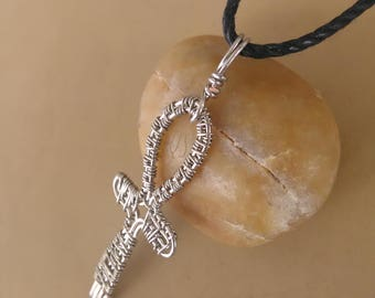 Ankh pendant silver color - Wire wrapping