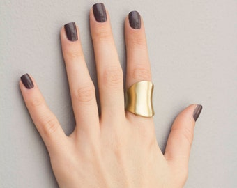 ALENA CUFF RING\\ Adjustable Brass Ring\\ Gold Ring\\ Statement Ring\\ Polished Ring