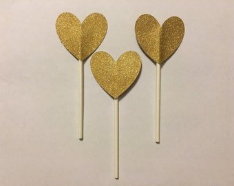 Gold Glitter Heart Cupcake Toppers- Set of 12