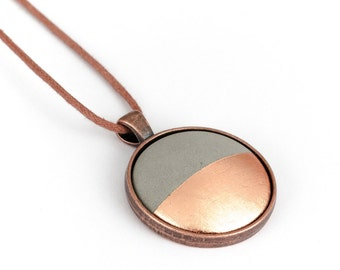 Concrete pendant necklace copper