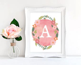 Boho nursery decor, Floral Wreath Letter, Nursery art, Baby letter, Baby name sign, 8x10 Custom Printable.