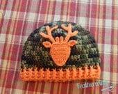 Little Buck Beanie, Little Deer, Bucks Hat, Deer Hat, Baby Boy Hat, Camo Hat, Hunter's Hat, Crochet Deer Hat