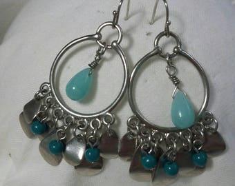Silver tone beaded hoops