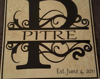 Monogrammed Tile, Customized Tile, Personalized Wedding Tiles, Anniversary Gifts, House Warming, Customized Gifts