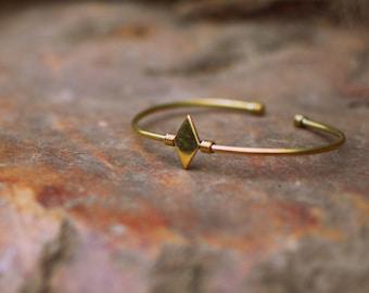 Brass Golden Square Bracelet (minimalistic)
