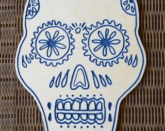 Blue Wooden Skull