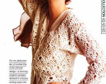 Longline Cardigan Crochet Pattern Instant Download Women Cardigan Long Loose Boho Summer Jacket Loose Summer Top Long Cardigan Open Cardigan
