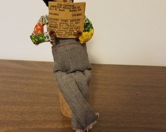 Vintage Corn Cob Farmer Doll / Folk Art