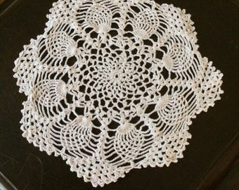 Crocheted Ivory Doily 1970's