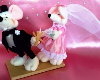 Wedding couple. Dolls. Mousy. Pair of bride and groom rat. Bride and groom.